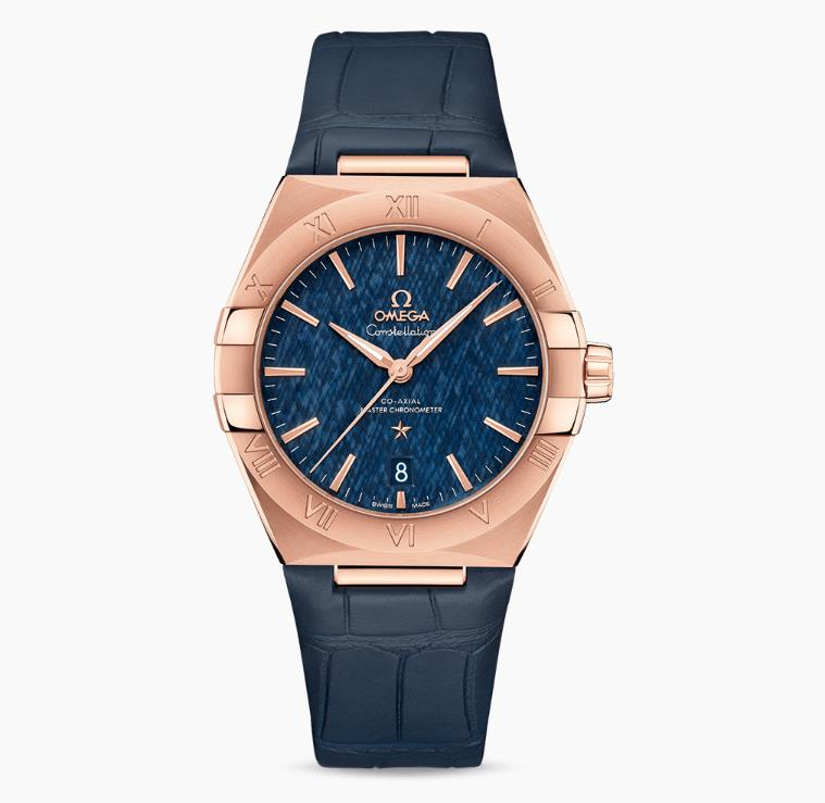 The elegant fake watches have blue leather straps.