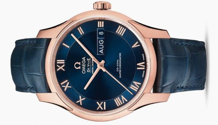 The Sedna® K gold copy watches have midnight blue dials.
