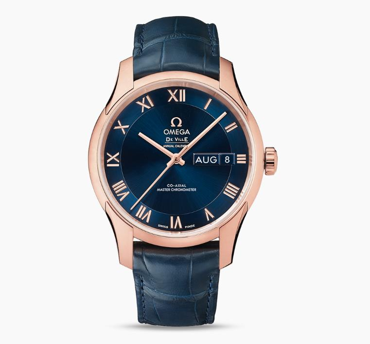 The attractive fake watches have midnight blue dials.