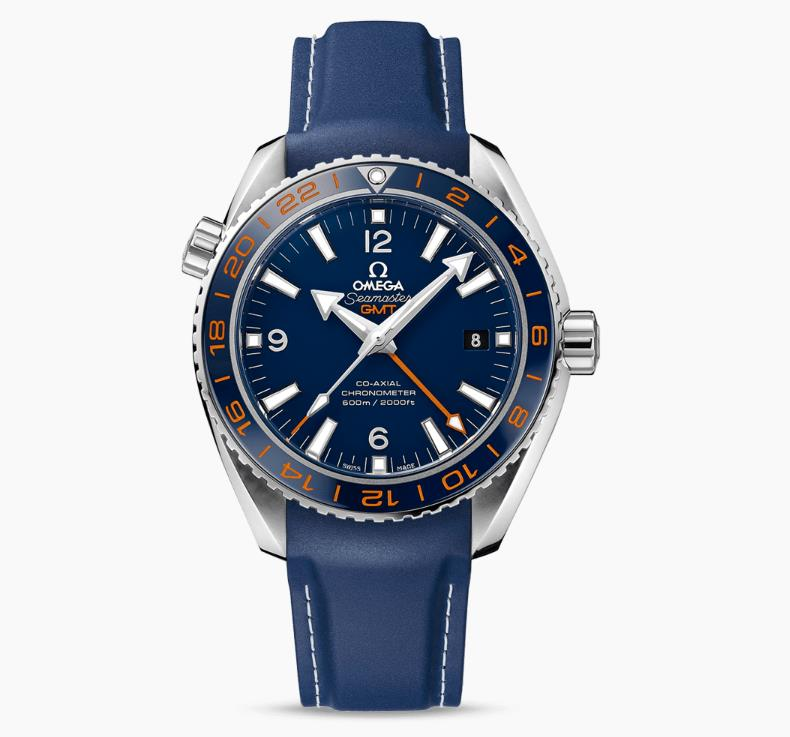 The stainless steel fake watches have blue straps.