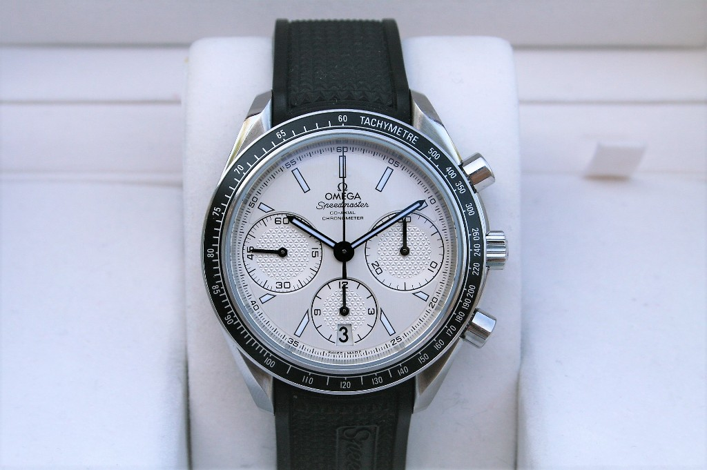 The white dial copy watch has black strap.